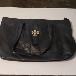Tory Burch Black Pebbled Leather Tote
